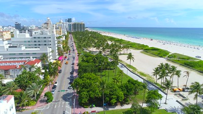 Cinematic aerial drone Ocean Drive Miami Beach