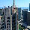 Aerial shot NBC Building Chicago 4k 60p