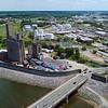 Aerial video Perdue Farms industrial building Manchester Richmond VA