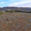 Aerial video cemetery headstones