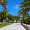 Stock footaege pedestrian path Ocean Drive Miami Beach