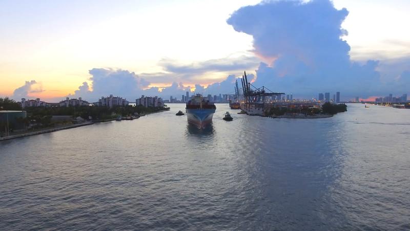 Cargo container ship leaving Miami