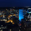 Drone night Downtown Des Moines Iowa 4k