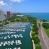 Aerial video Diversey Harbor Chicago 4k 60p