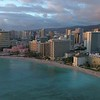 Aerial panoramic video of Waikiki Beach honolulu Oahu Hawaii