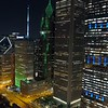Aerial night video Downtown Chicago USA