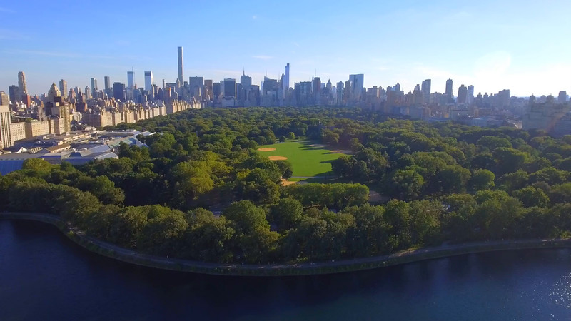 Aerial video of baseball fields in Central Park