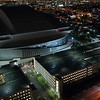 Drone shot Marlins Park at night