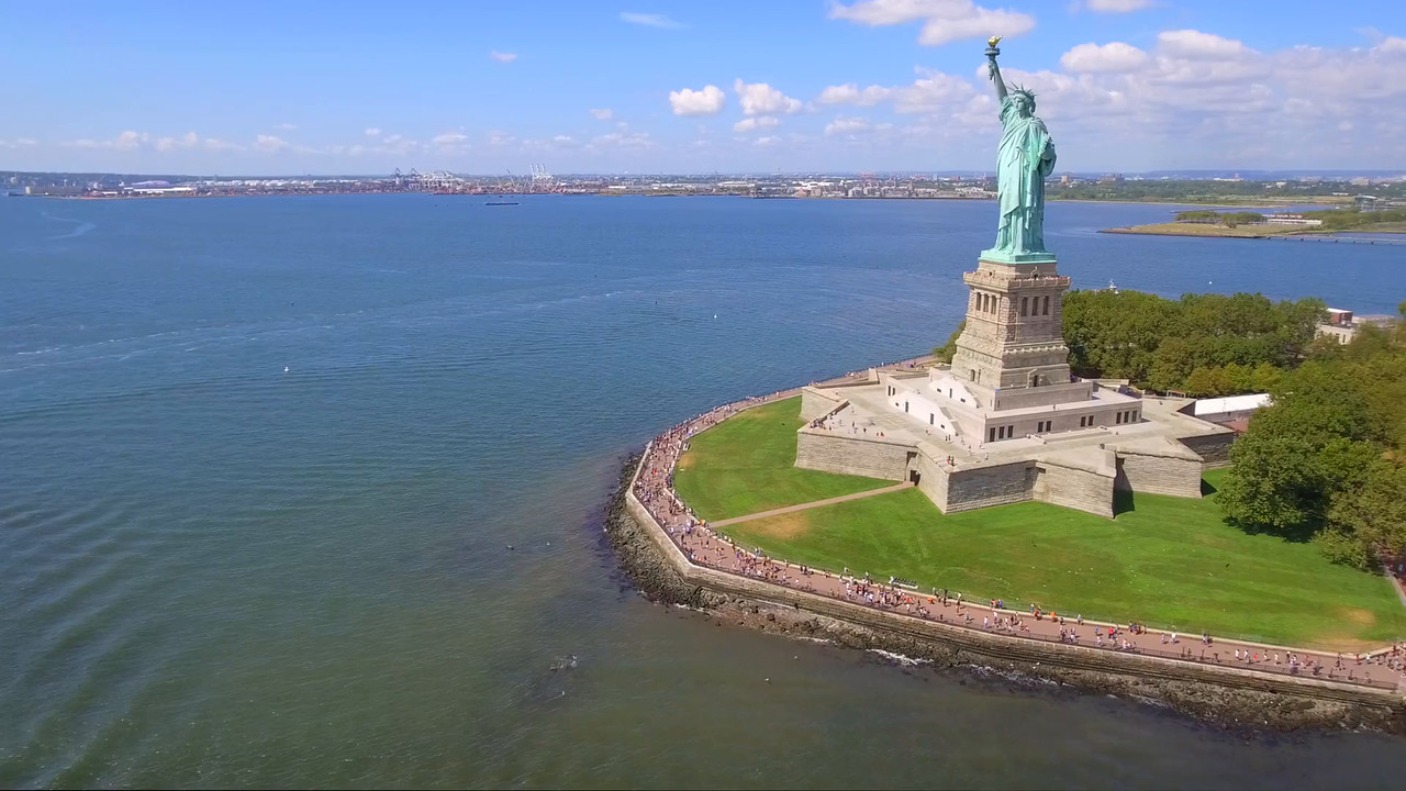 Tourists visiting the Statue of Liberty