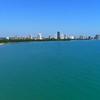 Establishing shot of Chicago Evanston Beach drone