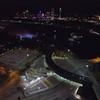 Aerial Niagara Falls at night