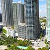 Aerial video highrise construction edgewater Miami