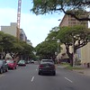 Driving along Kapiolani Boulevard Honolulu Hawaii