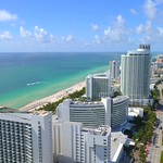 Aerial video beachfront resorts Miami Beach Florida 4k 24p