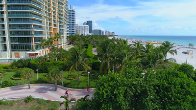 Aerial video Miami Beach Oceanwalk