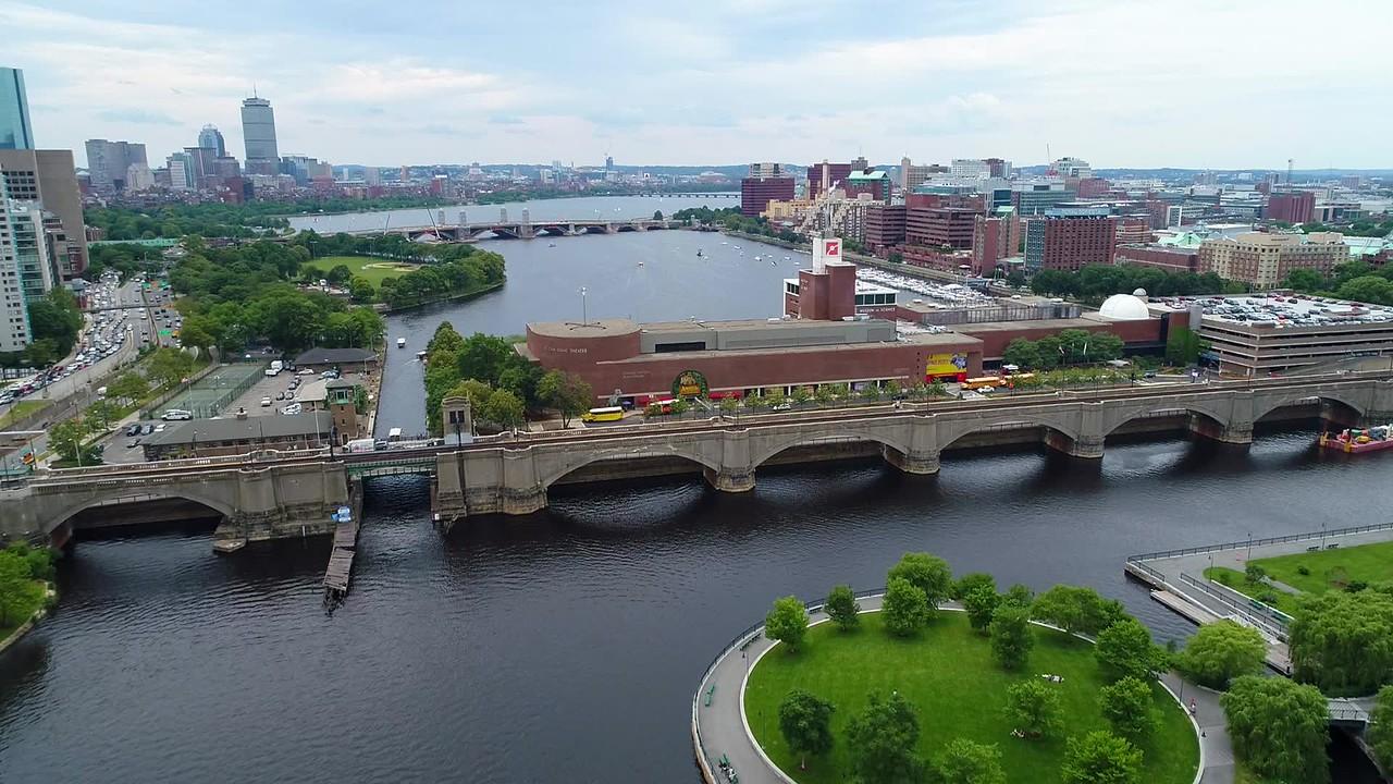 Aerial video Boston Museum of Science 4k 60p