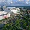 Aerial point of interest Mercedes Benz Stadium Atlanta GA 4k60p