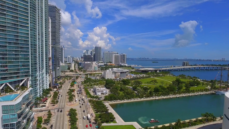 Aerial video Museum Park Downtown Miami