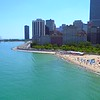 Aerial drone footage Oak Street Beach Chicago 4k 60p