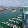 Aerial video tour Miami Beach bay Marina highrise condominiums 4k 60p