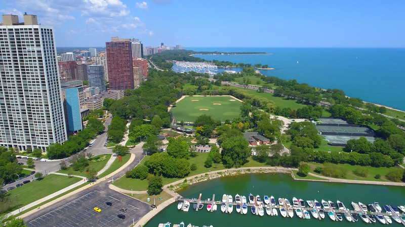 Aerial video Chicago Diversey Driving Range 4k