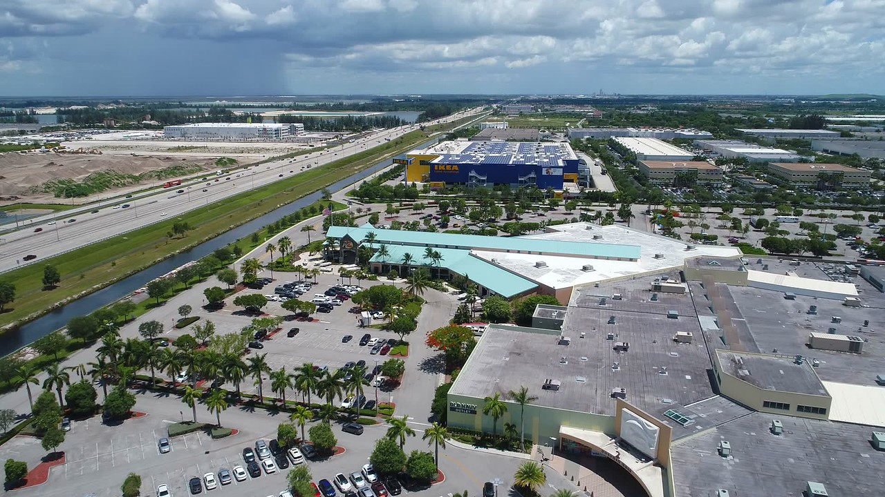 Aerial video Ikea home store Dolphin Mall Miami
