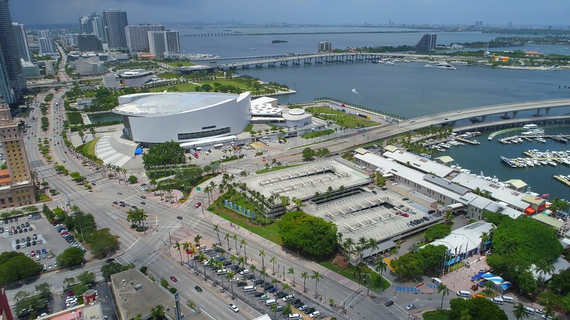 Aerial video American Airlines AA Arena 4k