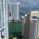 Highrise architecture Brickell aerial drone video
