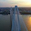 Aerial orbit Stan Musial Veterans Memorial Bridge 4k 60p