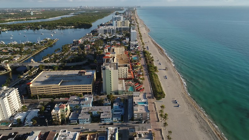 Aerial video Hollywood Beach boardwalk