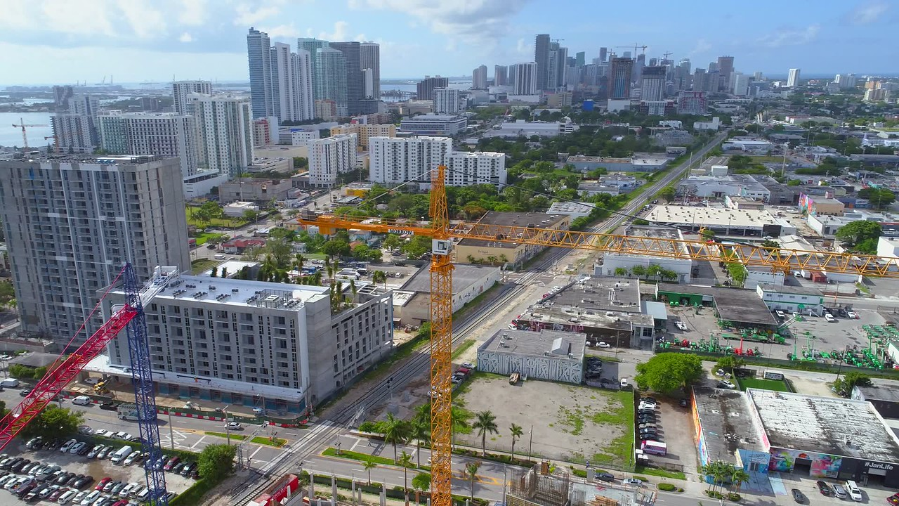 Drone active tracking spotlight mode construction crane inspection