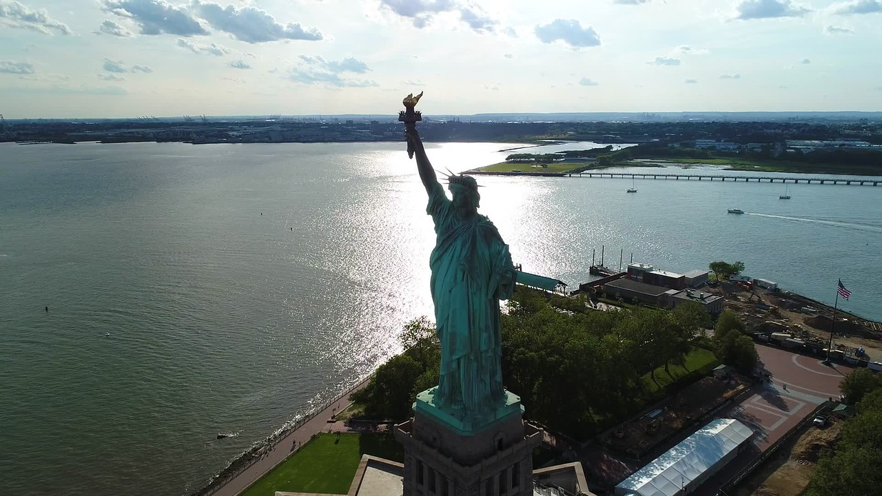 Aerial depart Statue of Liberty New York landmark