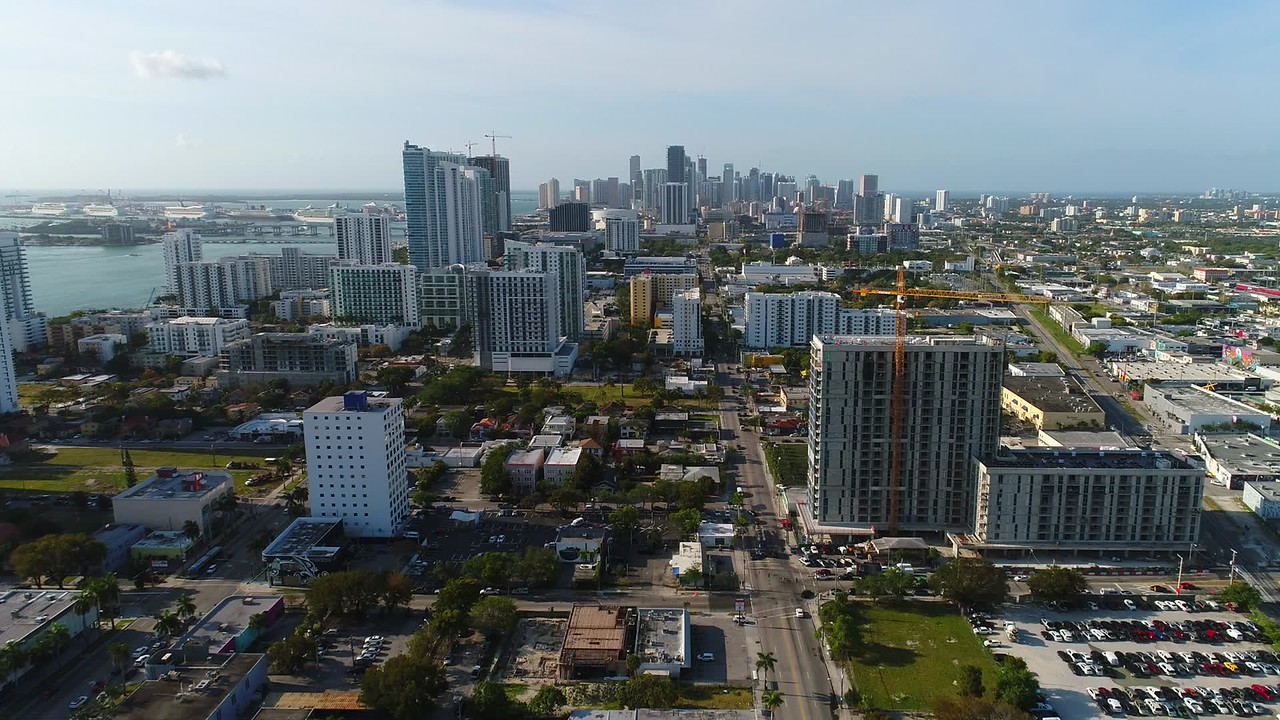Aerial video tour Downtown Miami and edgewater