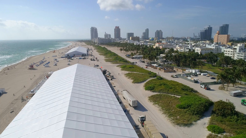 Art Basel tents on Miami Beach aerial video