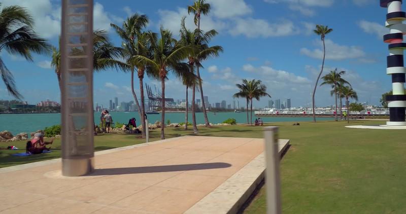 People taking photos at South Pointe Park Miami Beach