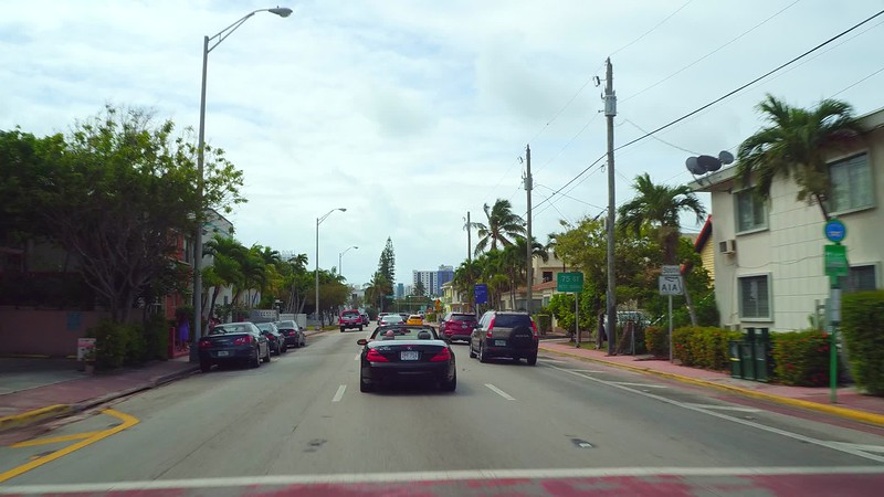 Driving on Harding avenue Miami Beach