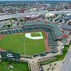 Aerial orbit Louisville Slugger Stadium 4k 60p