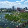 Aerial hyperlapse video Downtown Richmond Virginia 4k