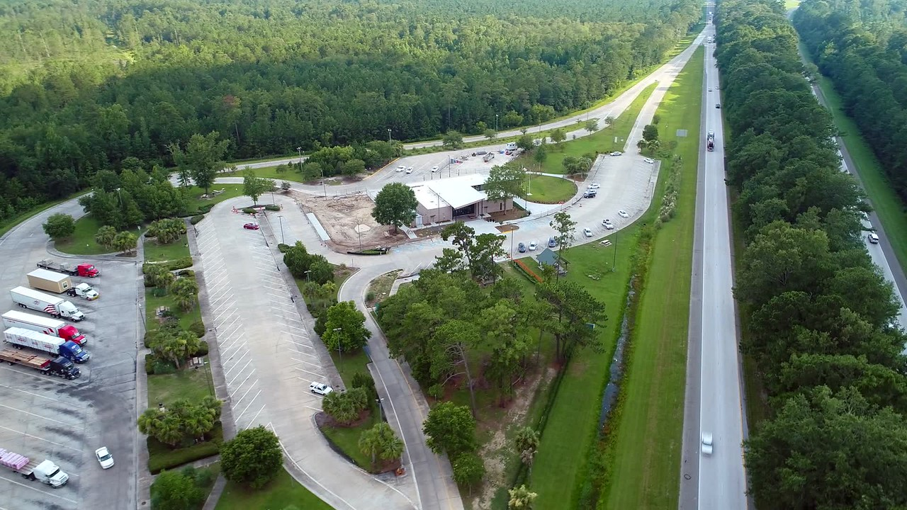 Drone aerial video of the Hardeeville rest area and truck stop flyover