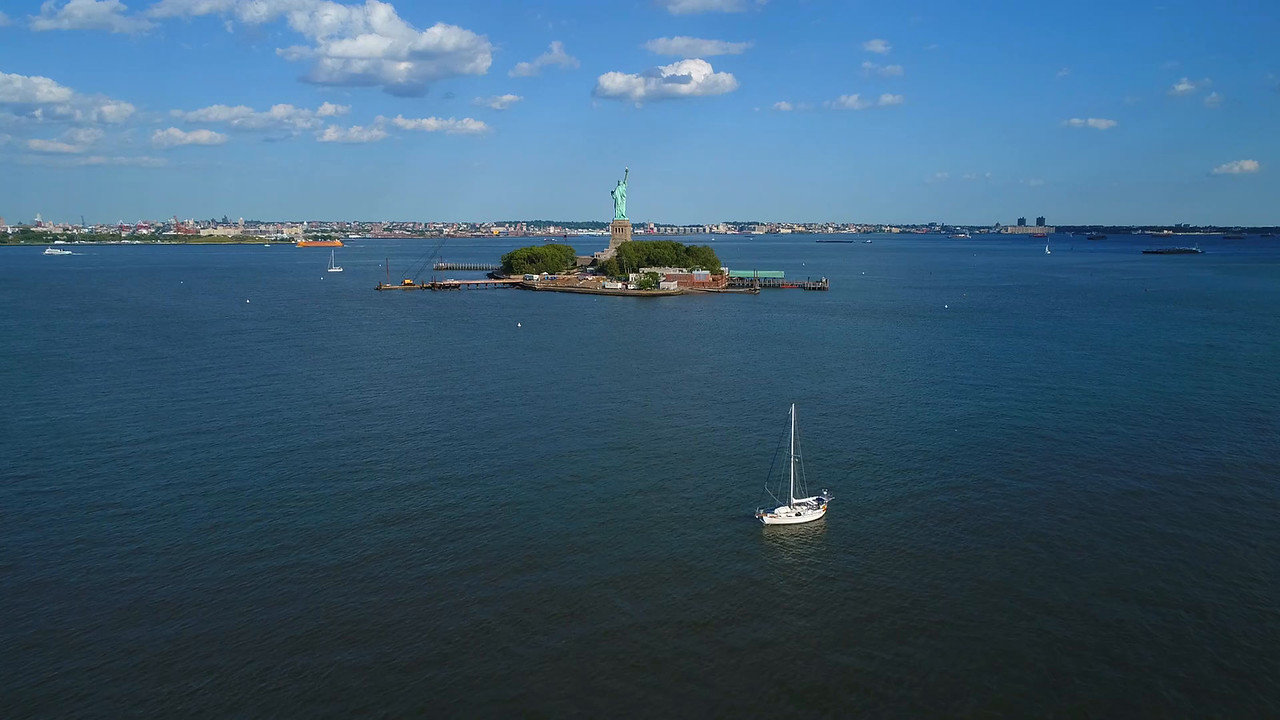 Aerial drone Statue of Liberty 4k 60p prores