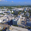 Aerial video of the Miami Beach clock tower Lincoln Road