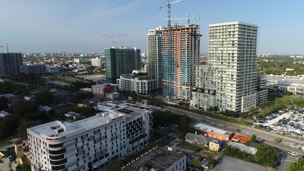 Aerial video highrise developments in Midtown Miami