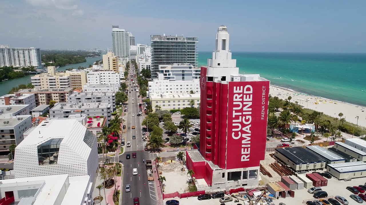 Aerial video of modern and deco architecture Miami Beach
