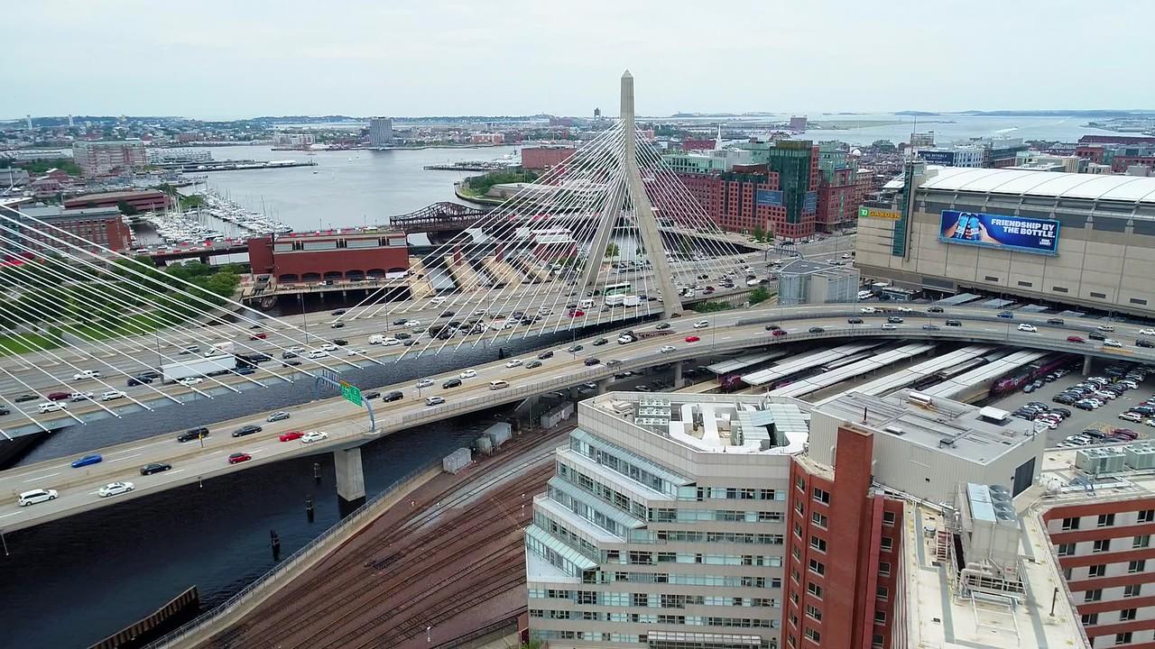 Boston Leonard P. Zakim Bunker Hill Bridge aerial drone 4k 60p