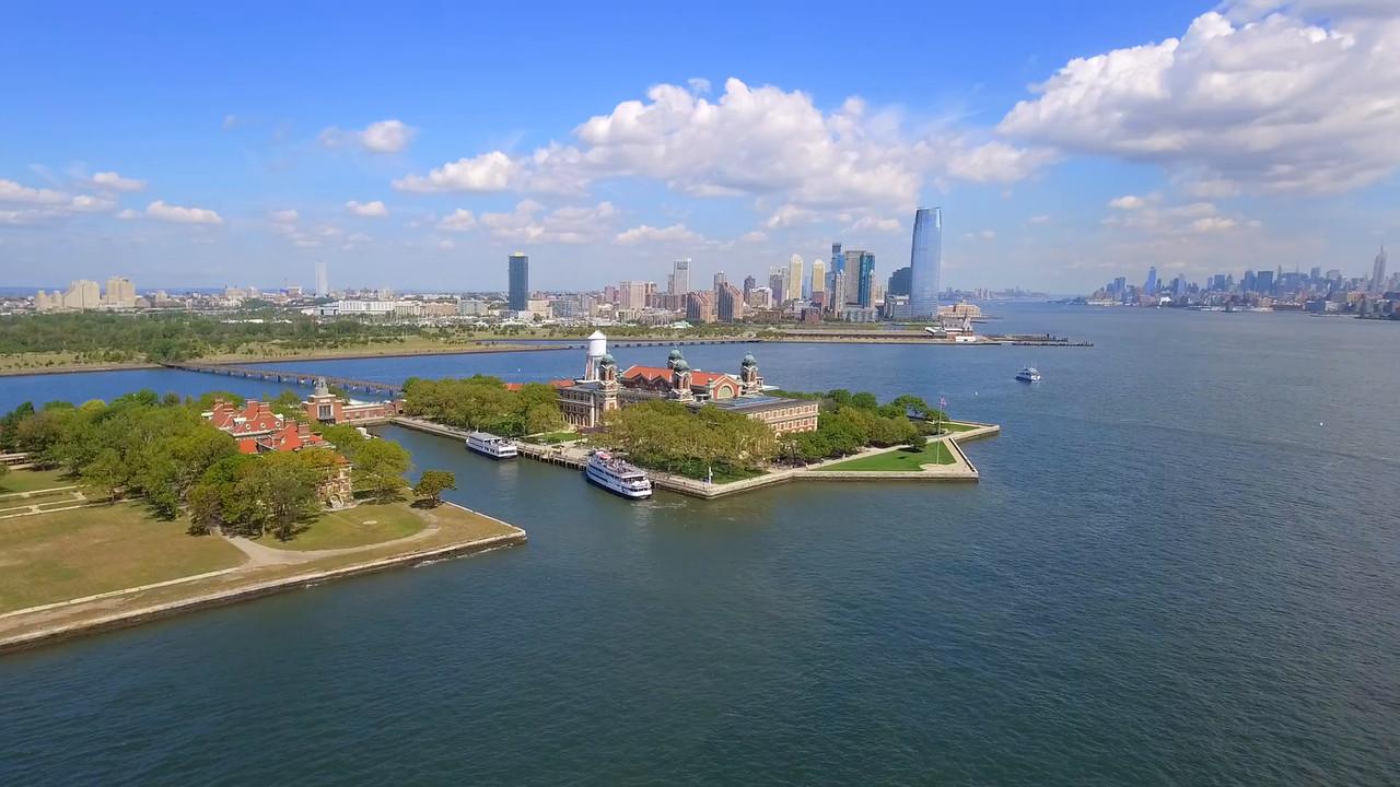 Ellis Island New York aerial video