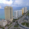 Aerial buildings Sunny Isles and pier