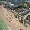 Aerial video of a crowded beach for spring break