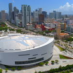 Flying over the American Airlines Arena 4k drone shot