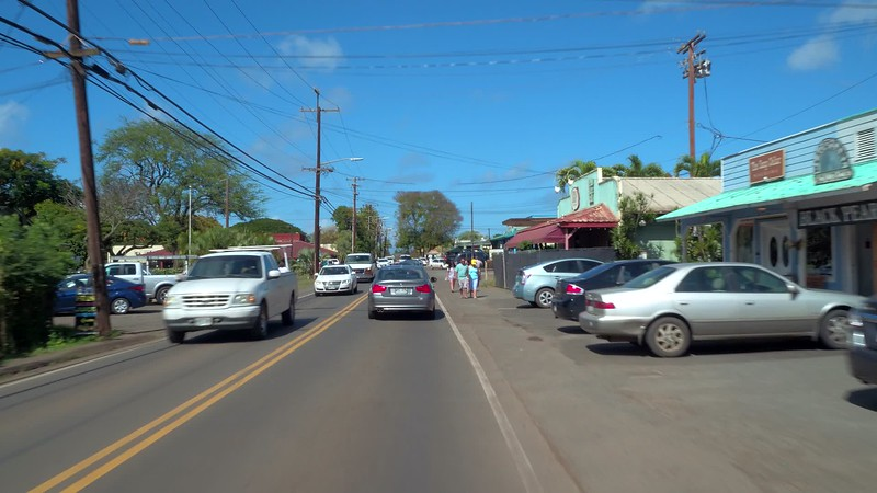 Driving on the Kamehameha Highway Oahu North Shore