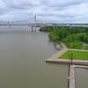 Drone aerial Louisville Riverwalk pedestrian path
